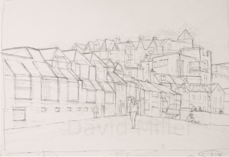 """St Ives School of Painting and Tate Building"", Graphic pencil, A2"