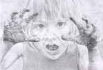 """Child. Derwent charcoal pencil on A2 cartridge paper. After the """"child"""" mental state from Eric Berne's more positive 1960s re-imagining of Freud's """"id""""."""