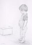 box and boy. 30x41cm. Derwent graphic pencil.