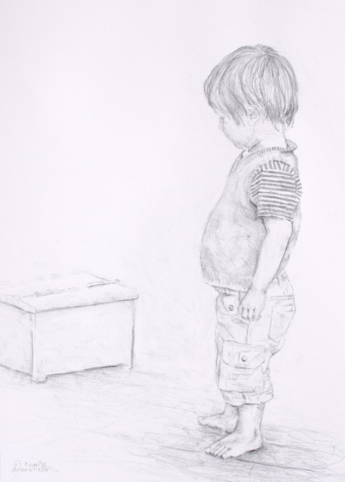 curious - or portrait of a 2 year old. 30x41cm. Derwent graphic pencil.