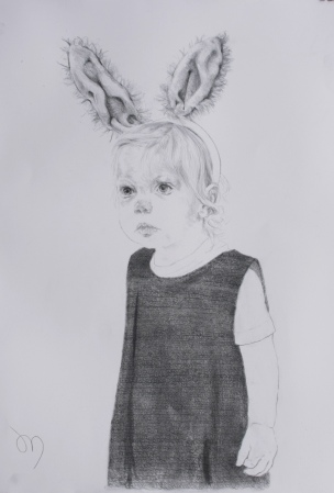 Looking for Peter Rabbit, Graphite powder and Derwent Graphic pencil