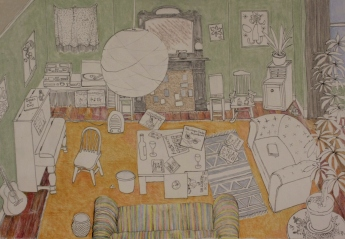 Remembered rooms - front room. Ink, pencil and pastel on A2 Kent Edition paper.