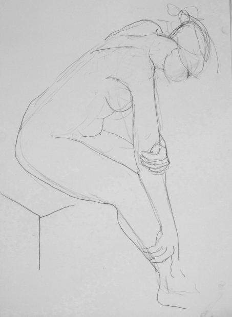 seated nude, carbon pencil, A2