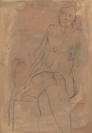 seated nude on rose ground 0810