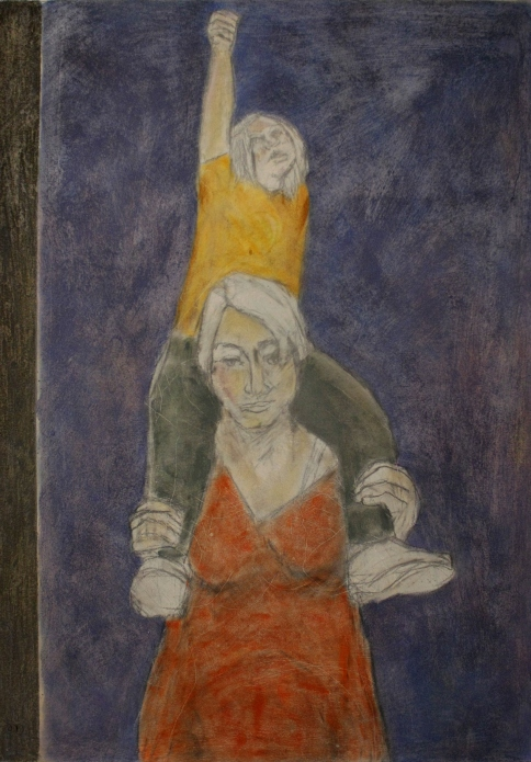"""""""(working mother) with child"""", 50x700cm"""